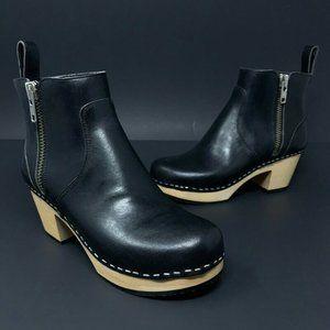 Swedish Hasbeens Zip It Emy Ankle Boots Heel New